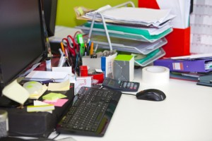 Files and a messy desk