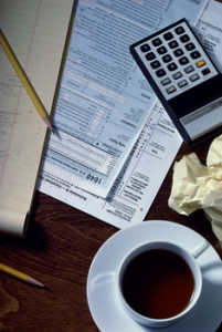 Taxes preparation and coffee