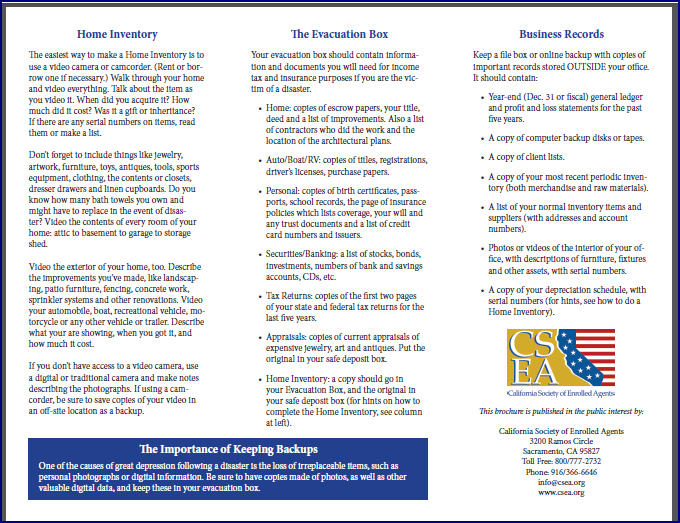 CSEA Disaster Preparation Checklist